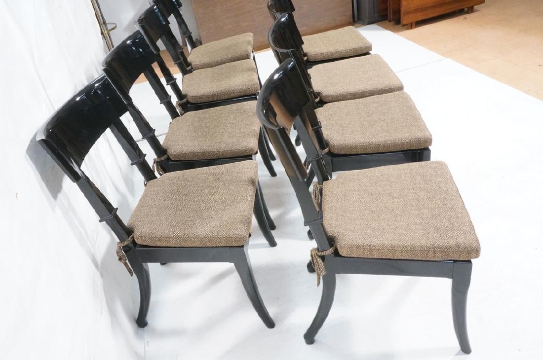 8 Black Lacquer Decorator Klismos Dining Chairs. - 3