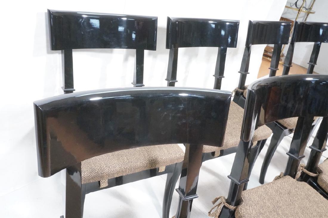 8 Black Lacquer Decorator Klismos Dining Chairs. - 4