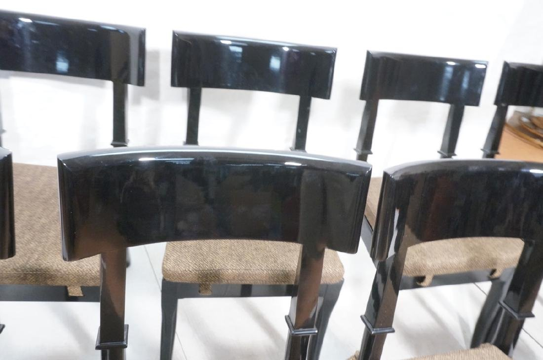 8 Black Lacquer Decorator Klismos Dining Chairs. - 5