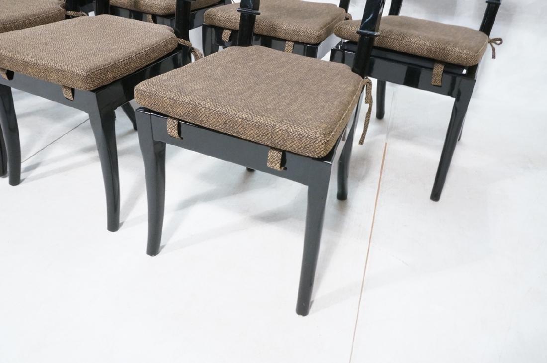 8 Black Lacquer Decorator Klismos Dining Chairs. - 7