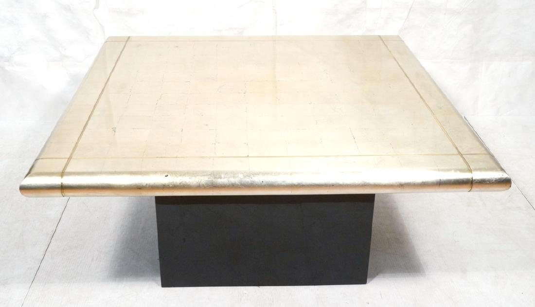 Large Square Gold Silver Leaf Extension Dining Ta