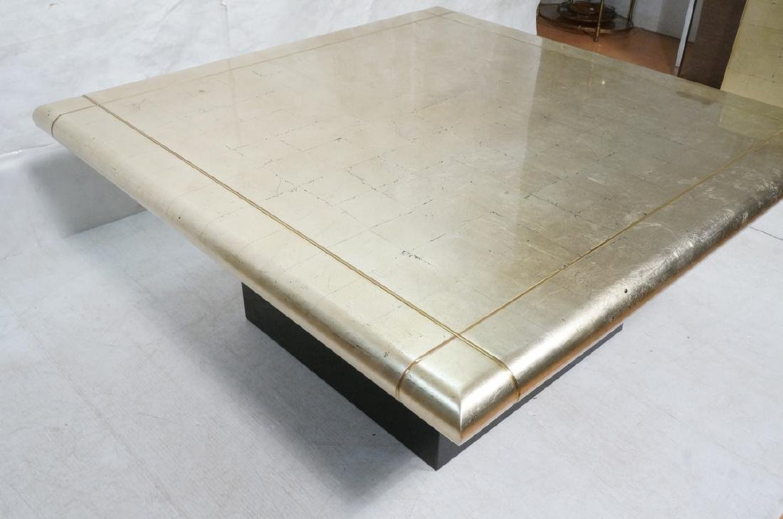 Large Square Gold Silver Leaf Extension Dining Ta - 2