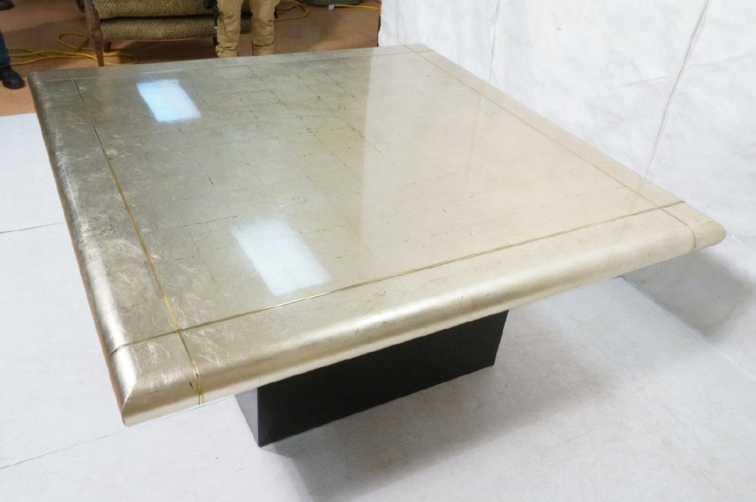 Large Square Gold Silver Leaf Extension Dining Ta - 4