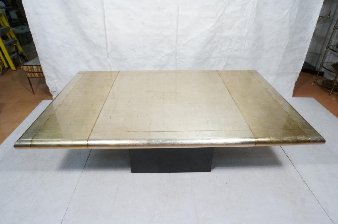 Large Square Gold Silver Leaf Extension Dining Ta - 5