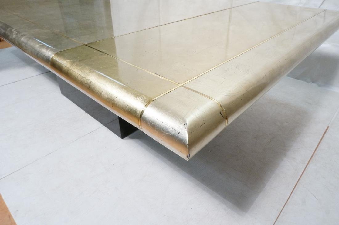 Large Square Gold Silver Leaf Extension Dining Ta - 6