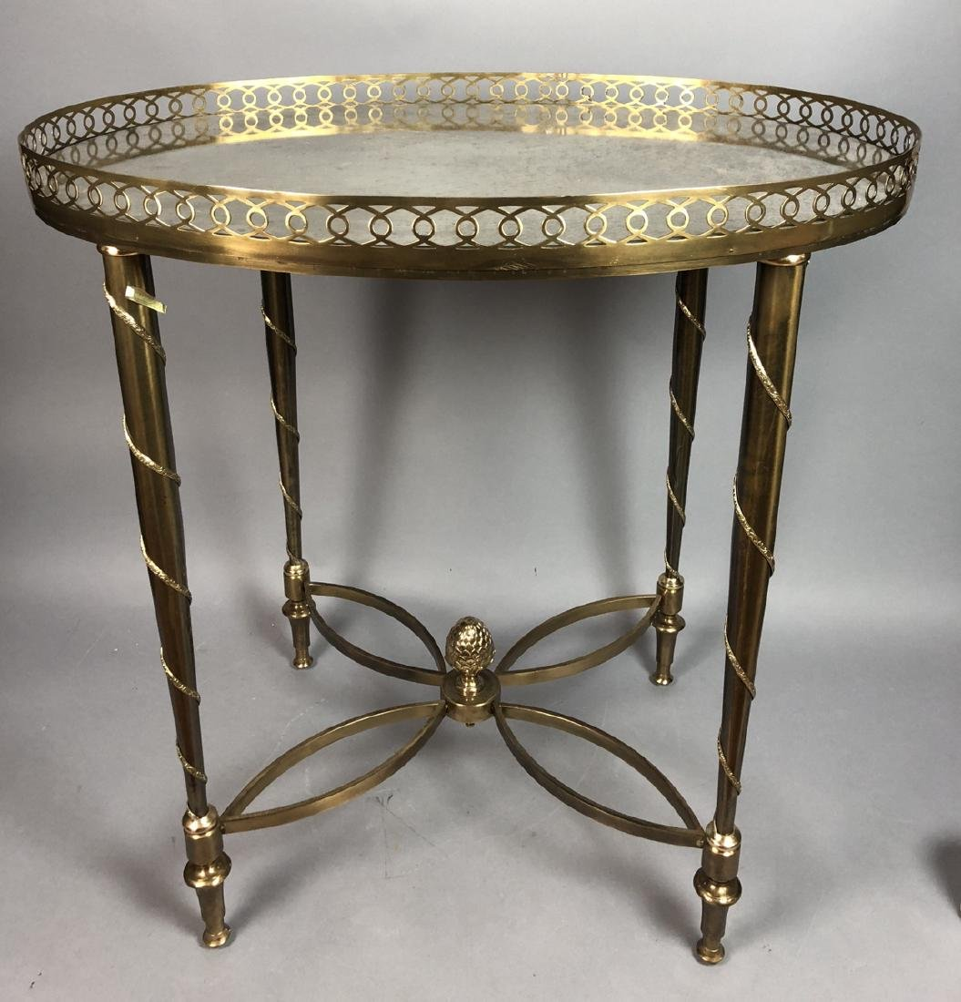 Oval Regency Inspired Brass Side Table. Oval mirr