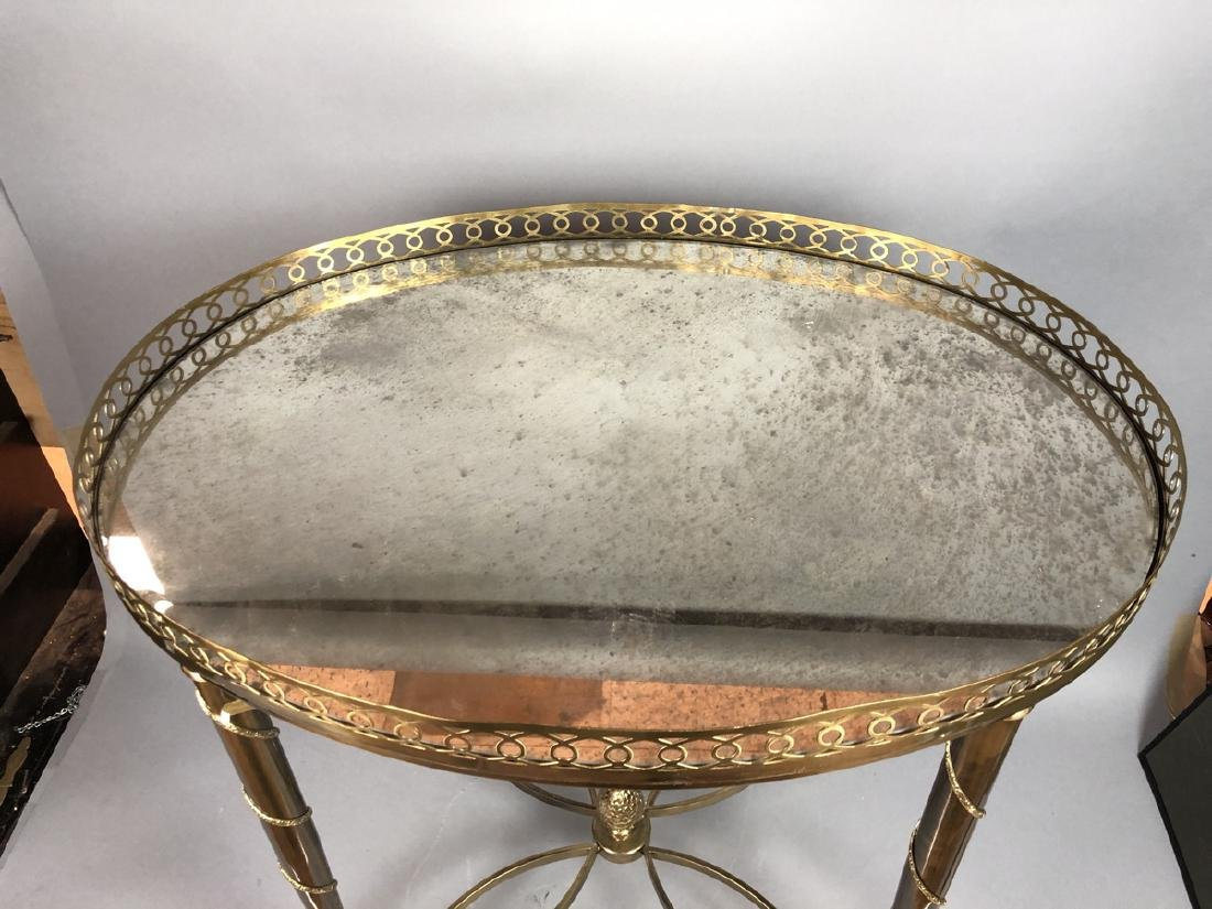 Oval Regency Inspired Brass Side Table. Oval mirr - 2