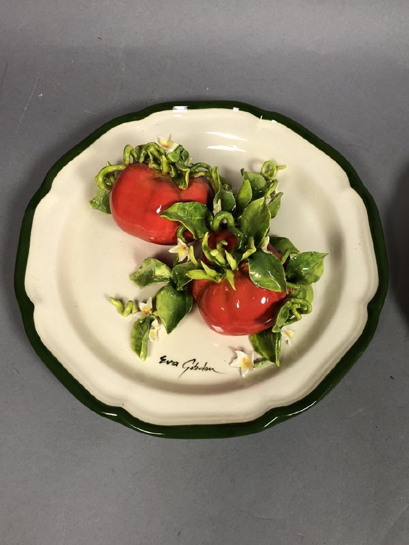 2pc EVA GORDON Sculptural Figural Fruit Plates. 3 - 2