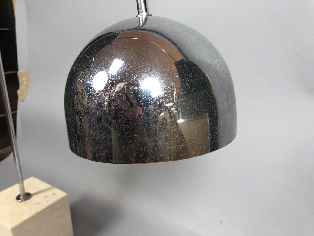ROBERT SONNEMAN Travertine Marble Chrome Table La - 4