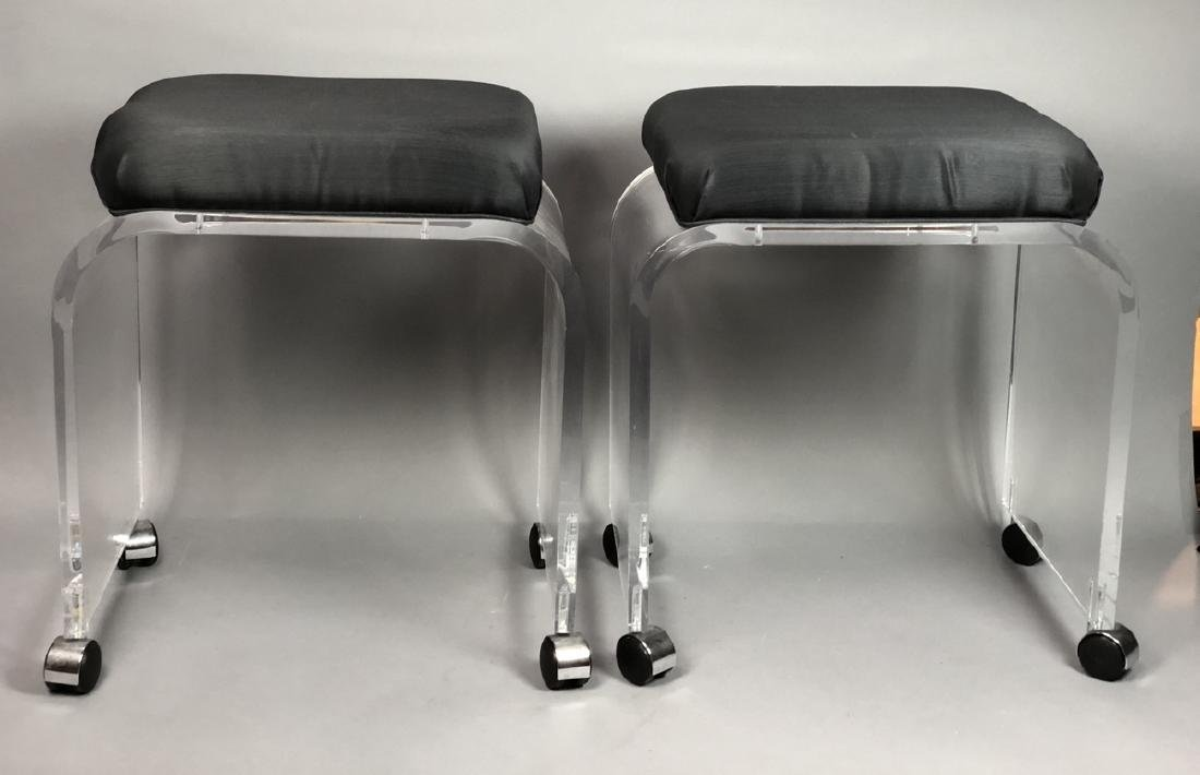 Pr Rolling Modern Lucite Vanity Benches. Black Fa