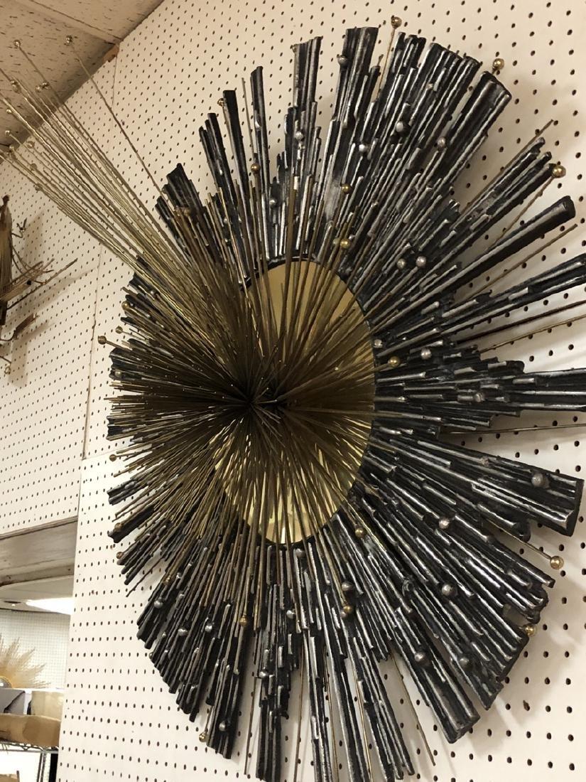 C. Jere Brass & Silver Brutalist Pompom Wall Sculpture. - 6