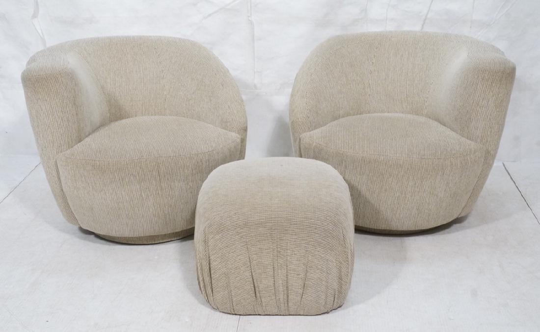 3pc VLADIMIR KAGAN Modern Seating. 2 Swivel barre