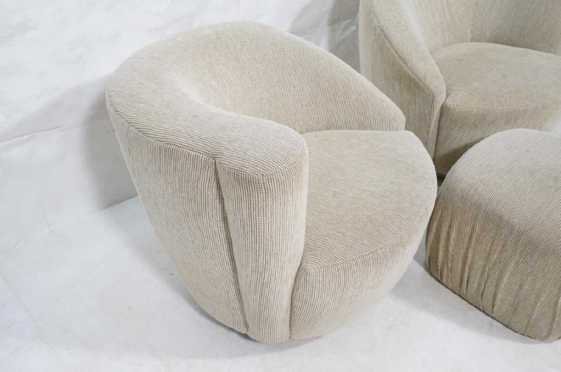 3pc VLADIMIR KAGAN Modern Seating. 2 Swivel barre - 2