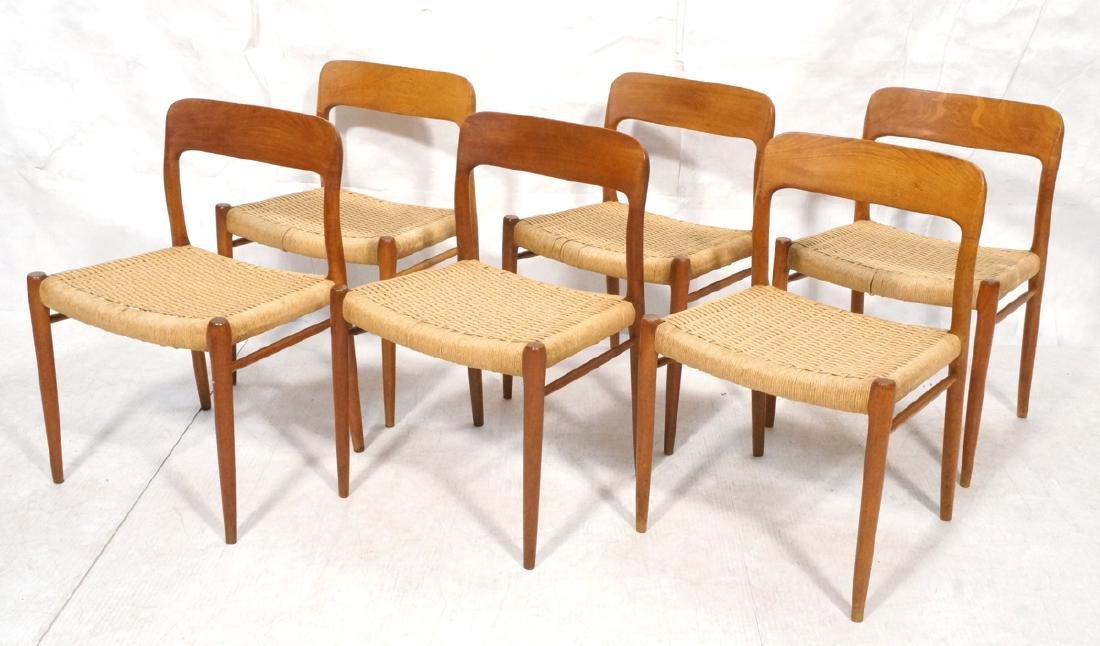 6 Danish Modern MOLLER Teak Dining Chairs. Woven