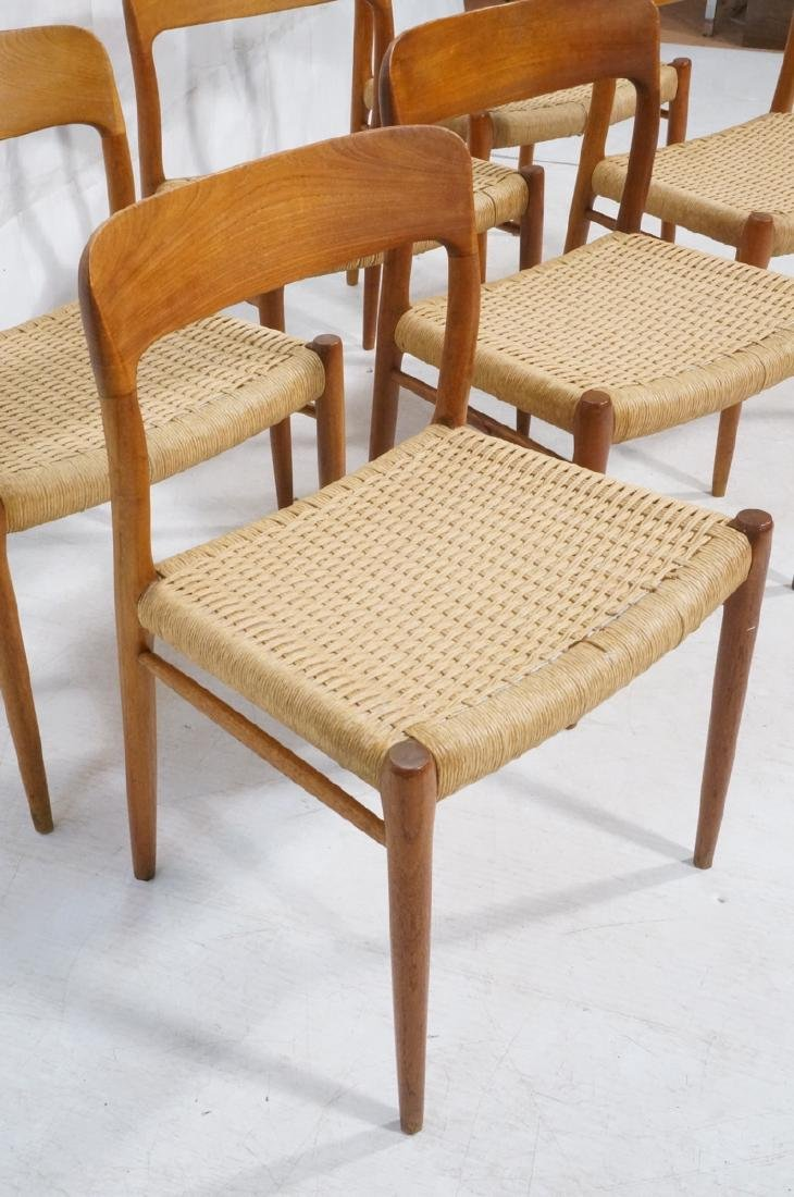 6 Danish Modern MOLLER Teak Dining Chairs. Woven - 2