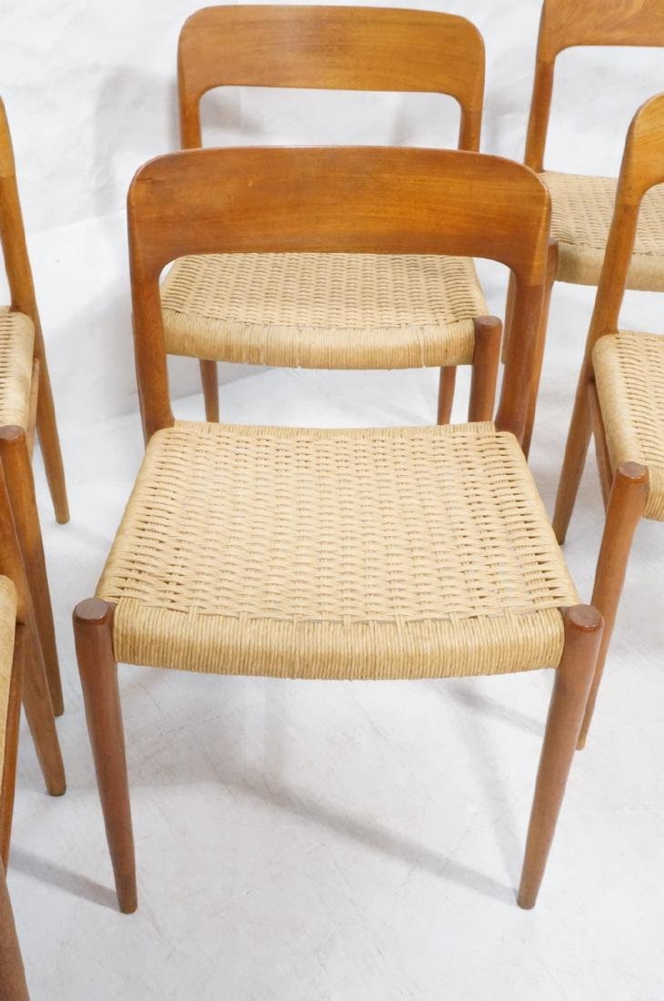 6 Danish Modern MOLLER Teak Dining Chairs. Woven - 4
