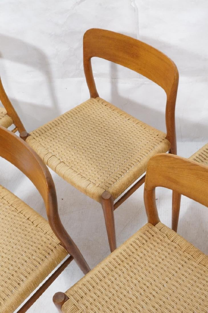 6 Danish Modern MOLLER Teak Dining Chairs. Woven - 5