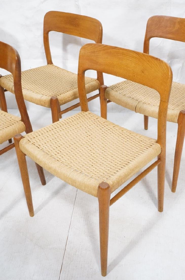 6 Danish Modern MOLLER Teak Dining Chairs. Woven - 6