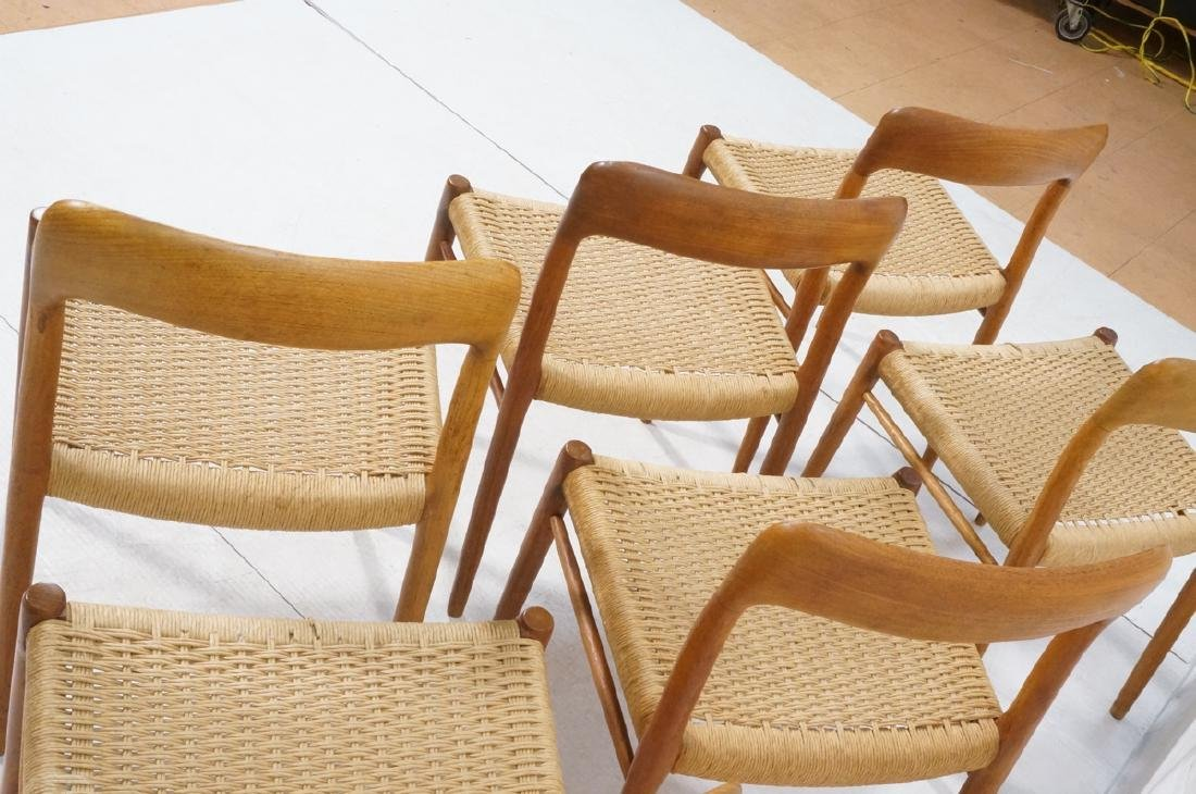 6 Danish Modern MOLLER Teak Dining Chairs. Woven - 9