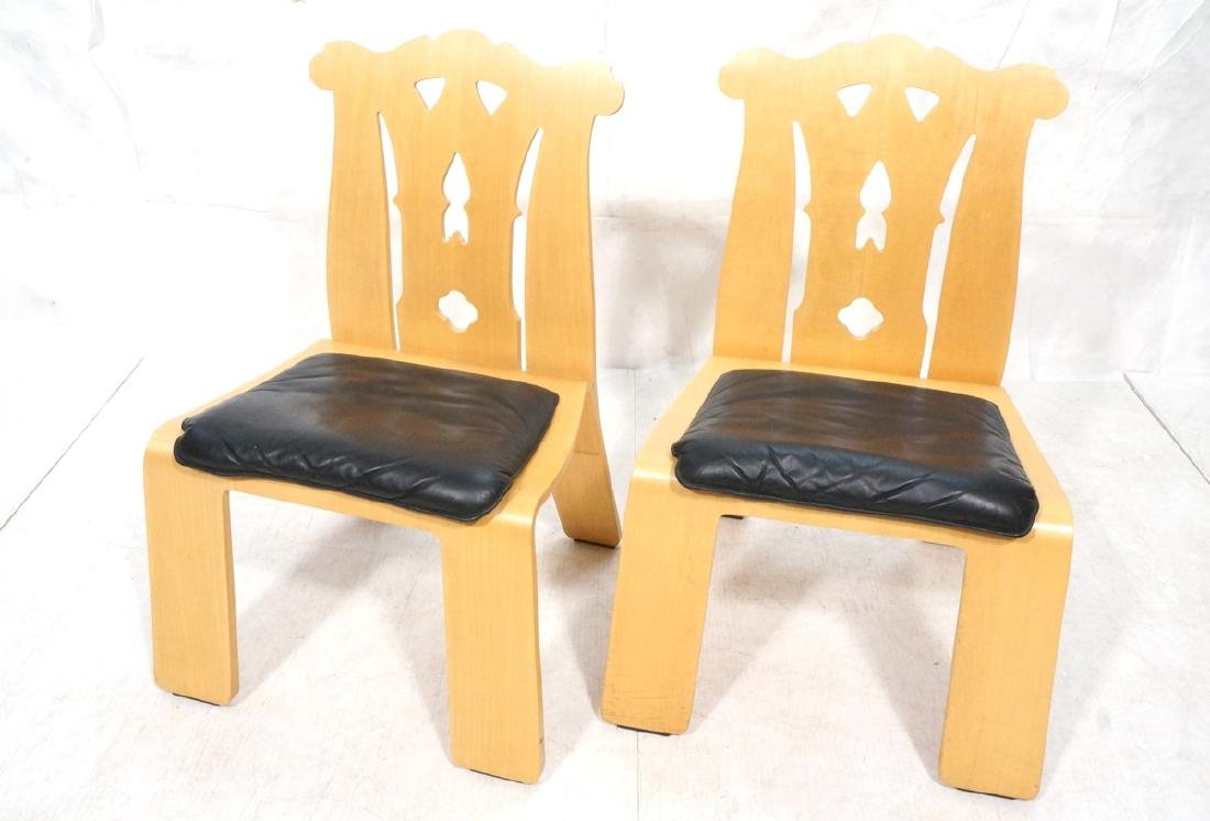 Pr ROBERT VENTURI Laminated Chippendale Chairs. L