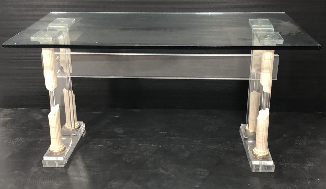 Decorator Modernist Glass Lucite Console Table De