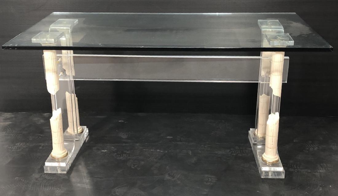 Decorator Modernist Glass Lucite Console Table De