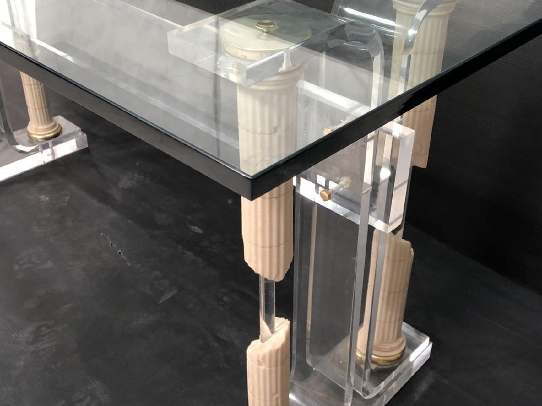Decorator Modernist Glass Lucite Console Table De - 5