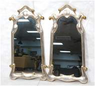 Pr Painted Art Nouveau Style Carved Wood Mirrors