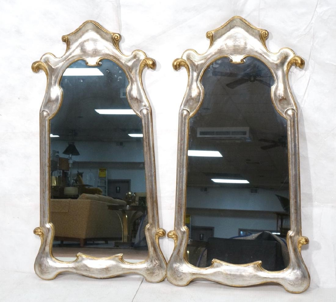 Pr Painted Art Nouveau Style Carved Wood Mirrors.
