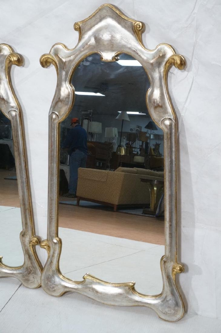 Pr Painted Art Nouveau Style Carved Wood Mirrors. - 2