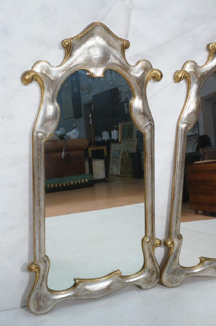Pr Painted Art Nouveau Style Carved Wood Mirrors. - 3