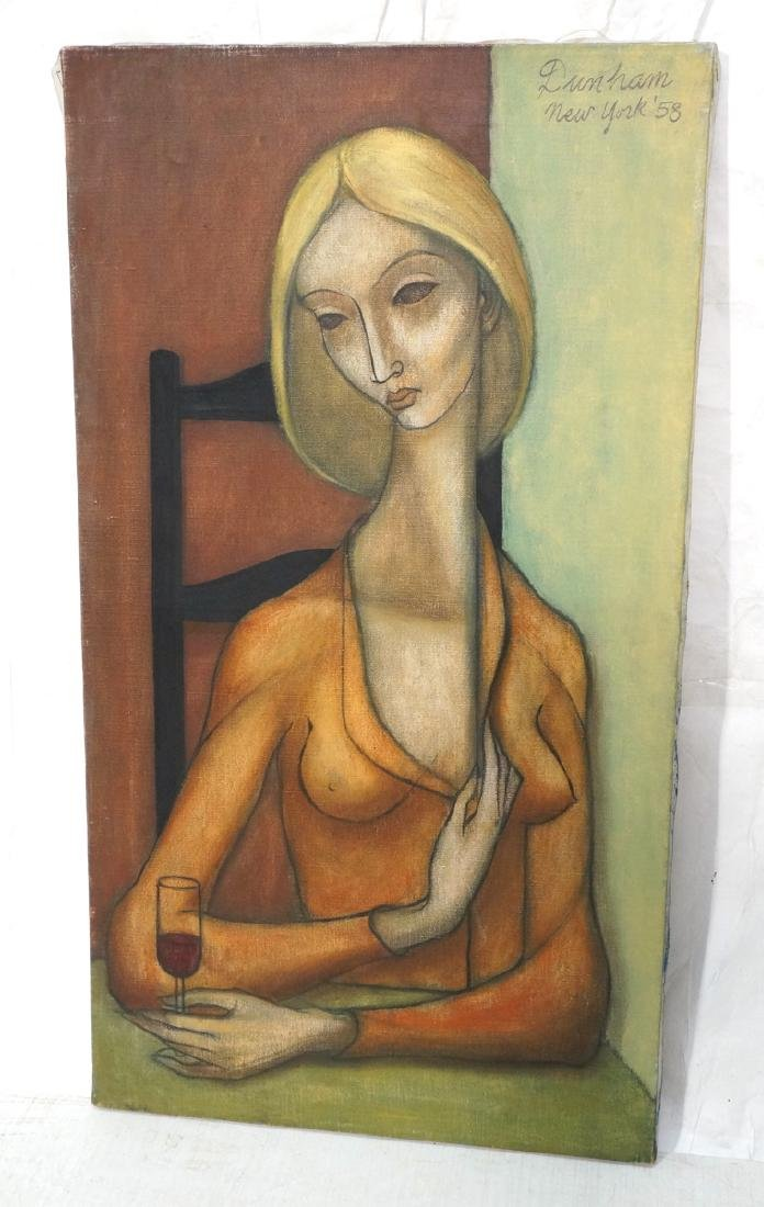 Signed DUNHAM Modernist Oil Painting Female Portr