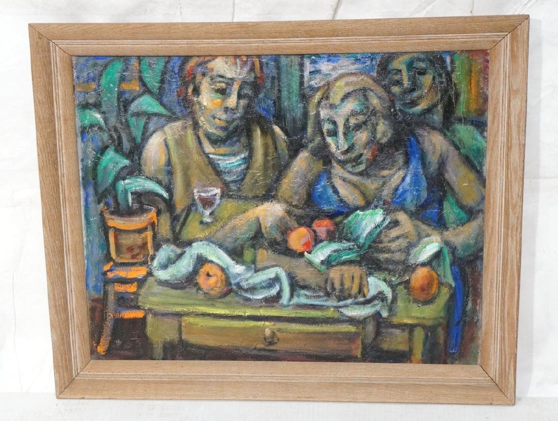 SAMUEL HELLER Modernist Oil Painting. People with