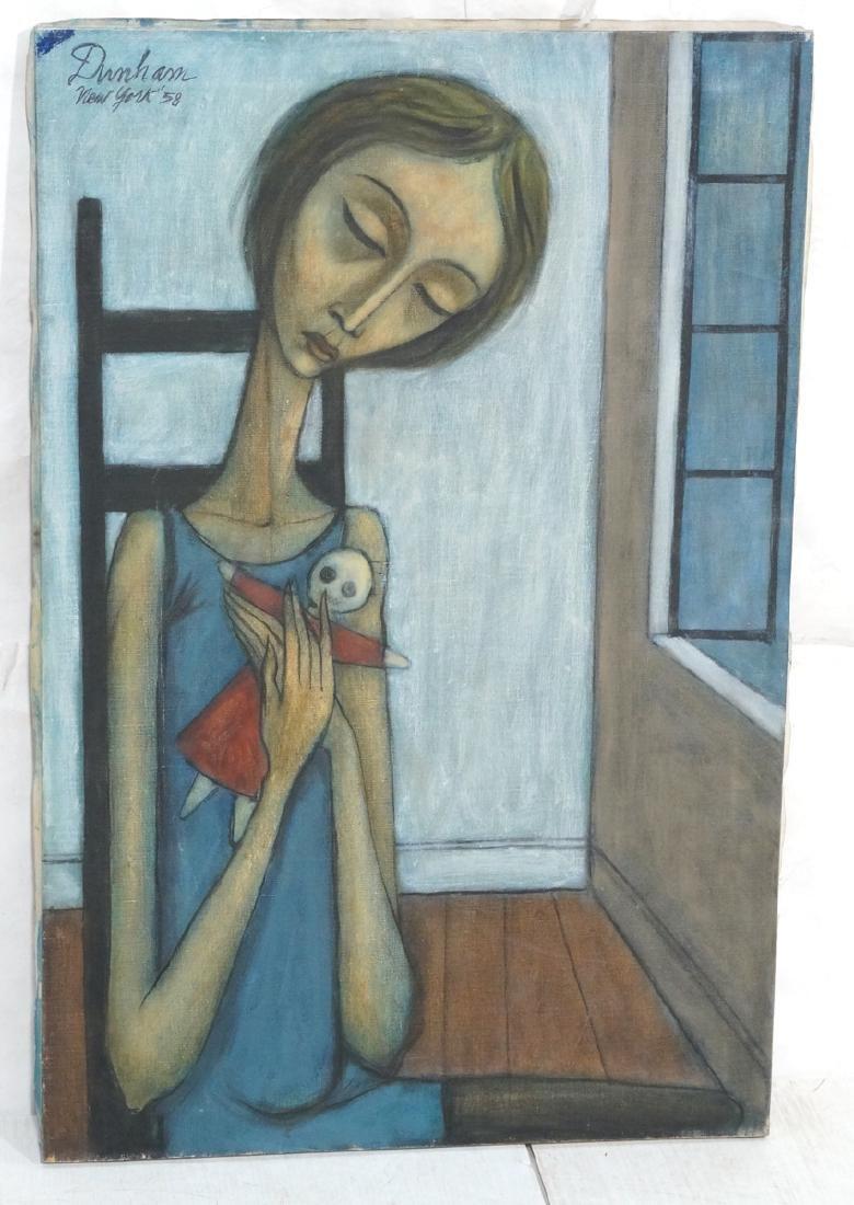 Signed DUNHAM Modernist Portrait Oil Painting. Se