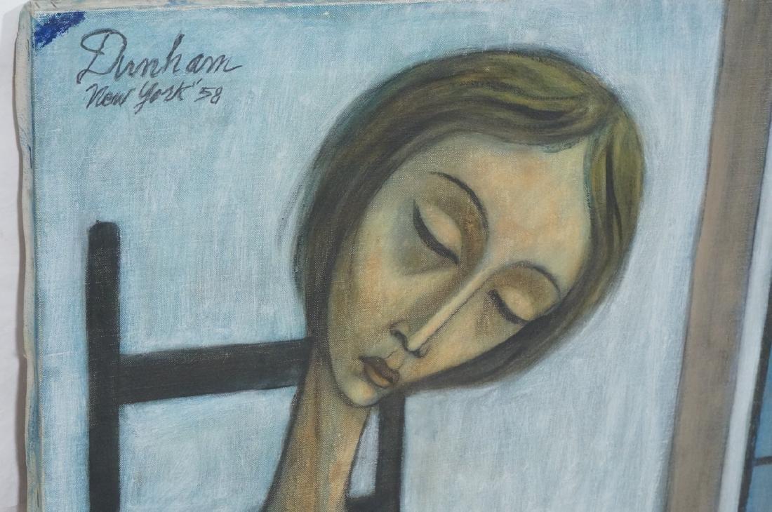 Signed DUNHAM Modernist Portrait Oil Painting. Se - 3