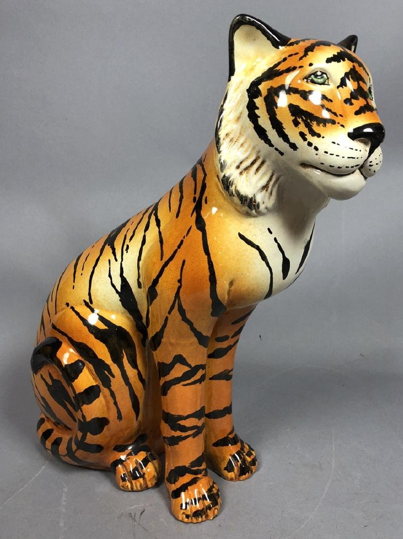 Italian Glazed Pottery Figural Tiger Sculpture. S