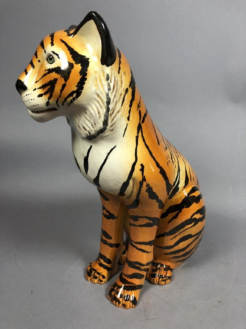 Italian Glazed Pottery Figural Tiger Sculpture. S - 2