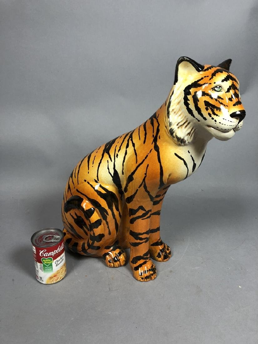 Italian Glazed Pottery Figural Tiger Sculpture. S - 5