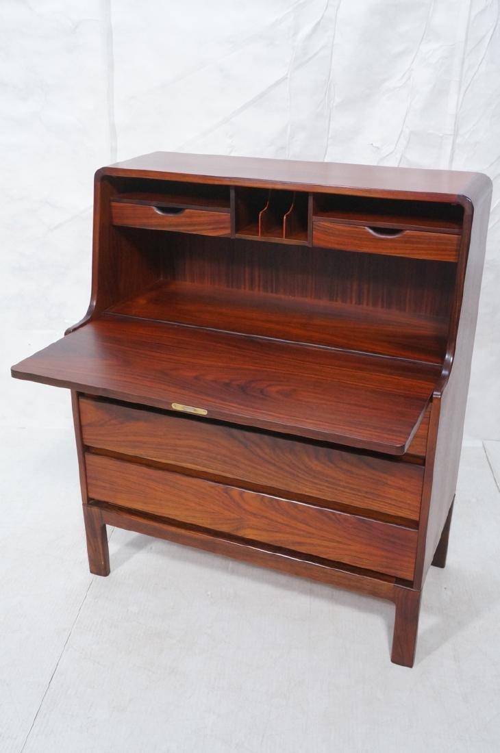 3 Drawer Danish Rosewood Drop Front Desk. Happy V - 6