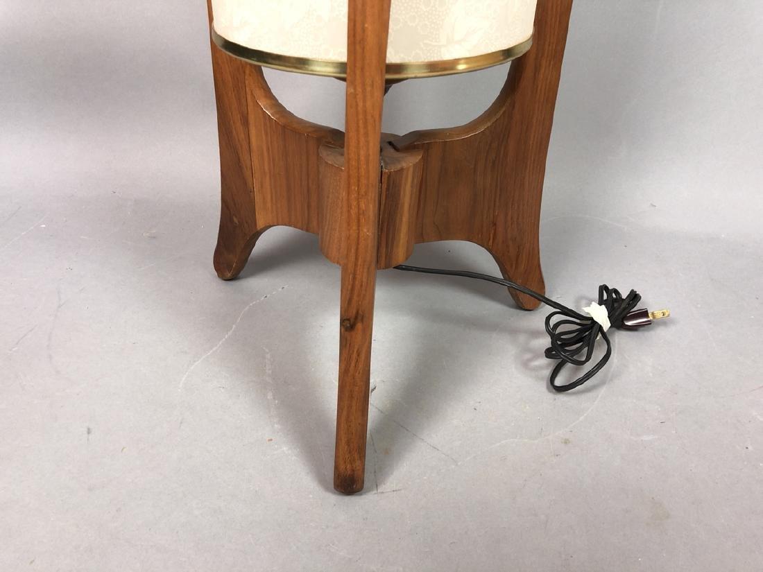 Modern Walnut Tri Leg Table Lamp. Bubble textured - 3