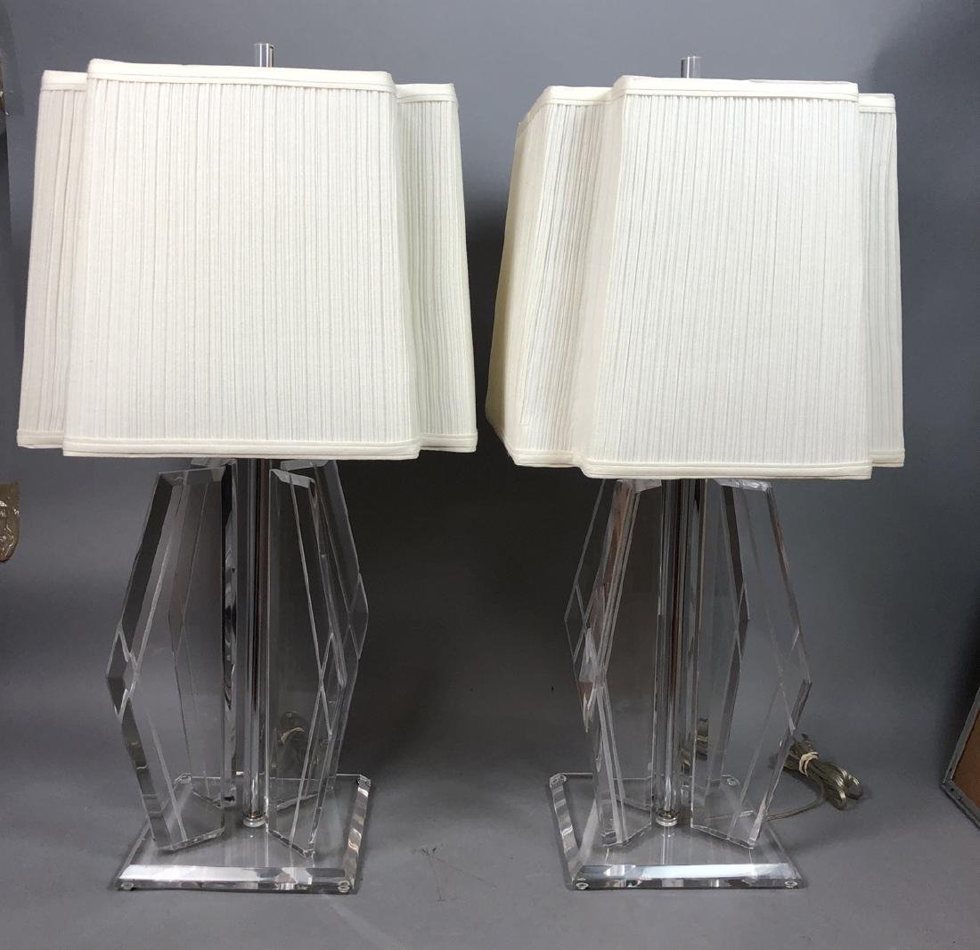 Pr 70s Modern Lucite Table Lamps. Beveled square