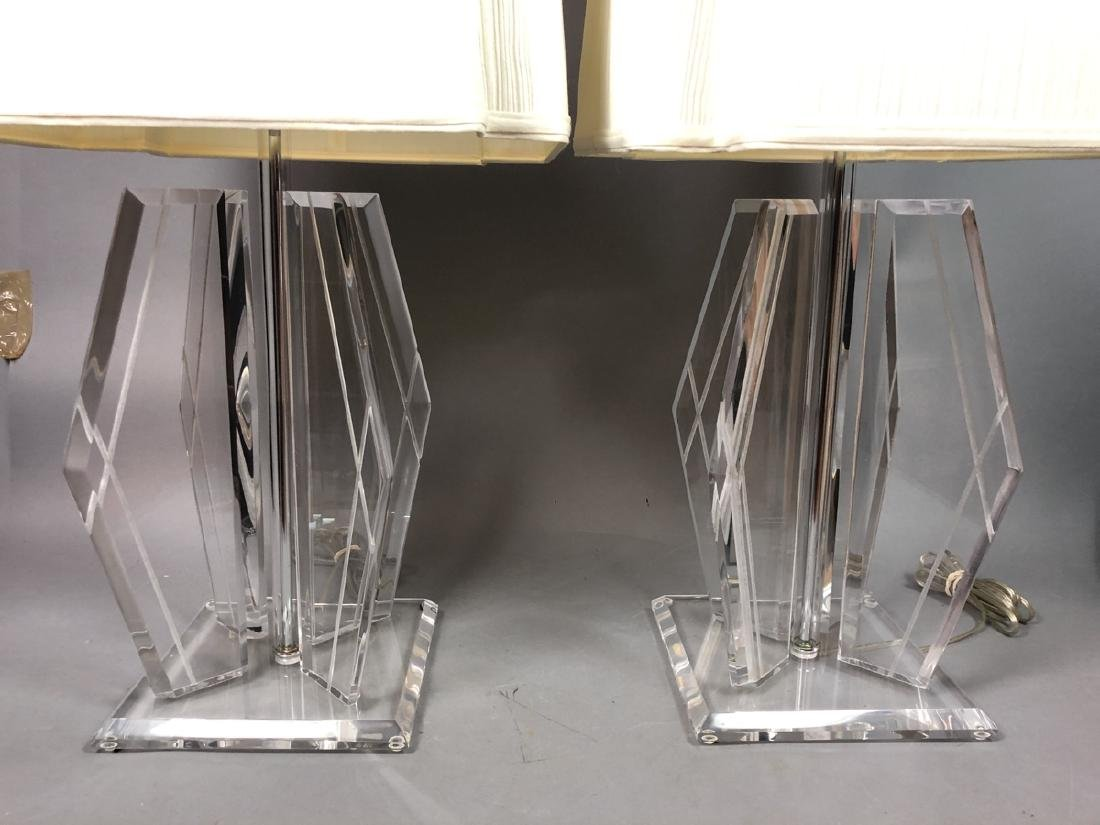 Pr 70s Modern Lucite Table Lamps. Beveled square - 2