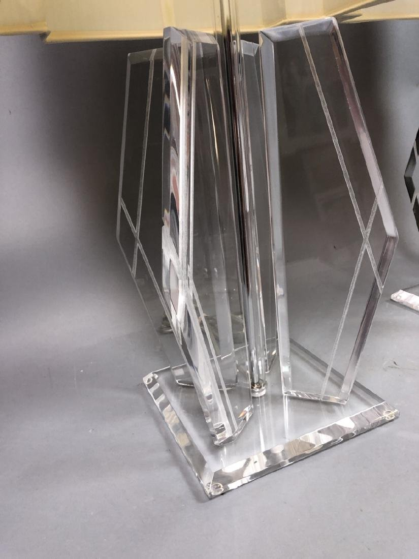 Pr 70s Modern Lucite Table Lamps. Beveled square - 3