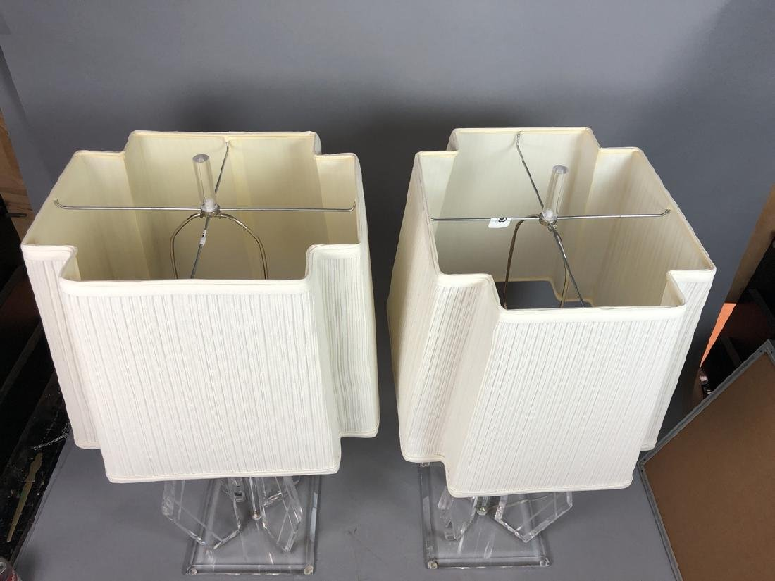 Pr 70s Modern Lucite Table Lamps. Beveled square - 6