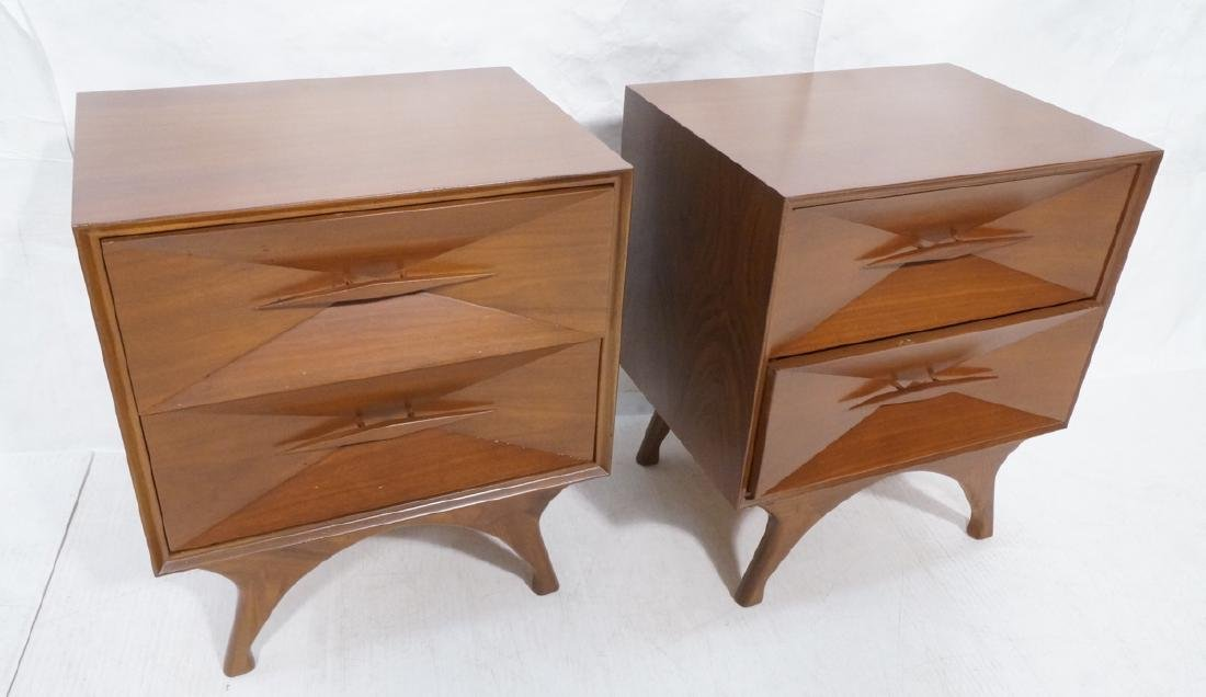 Pr American Modern Walnut Night Stands. 2 drawer