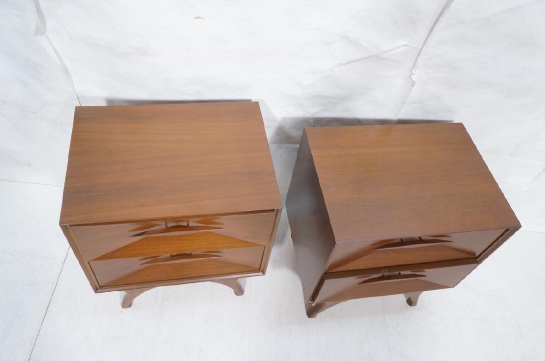Pr American Modern Walnut Night Stands. 2 drawer - 2