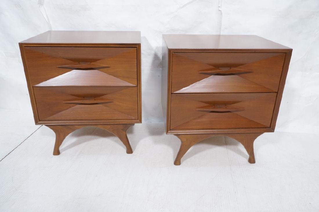 Pr American Modern Walnut Night Stands. 2 drawer - 5