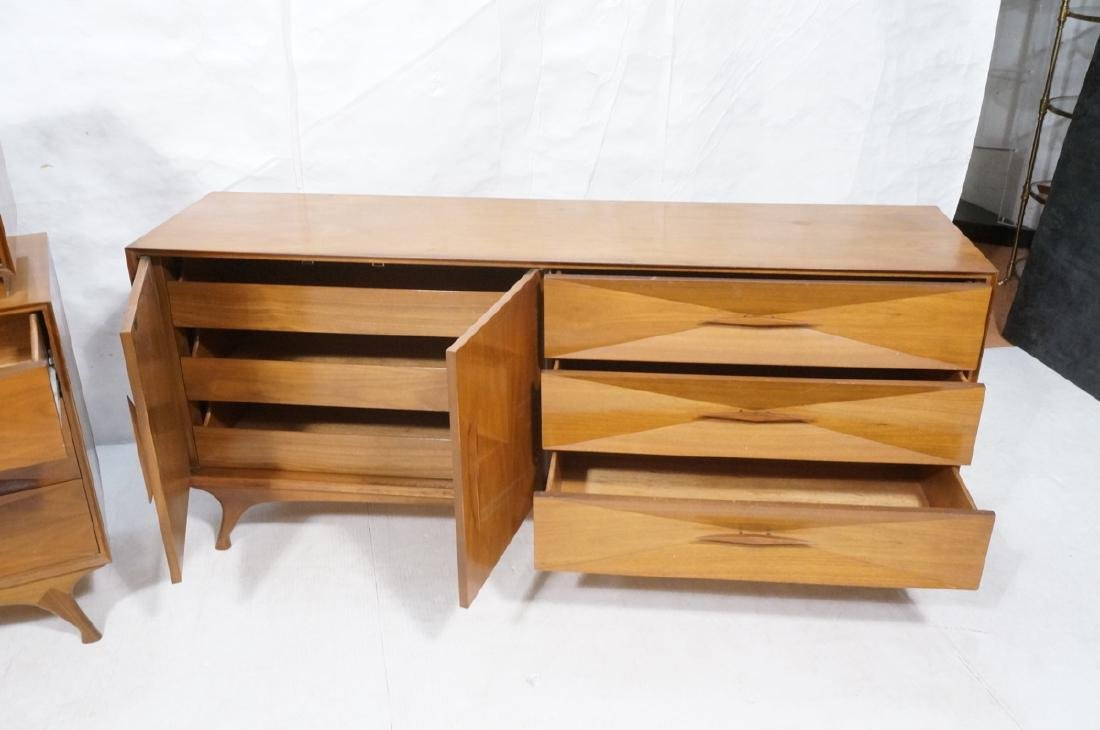 American Modern Walnut High & Low Chests Credenza - 10