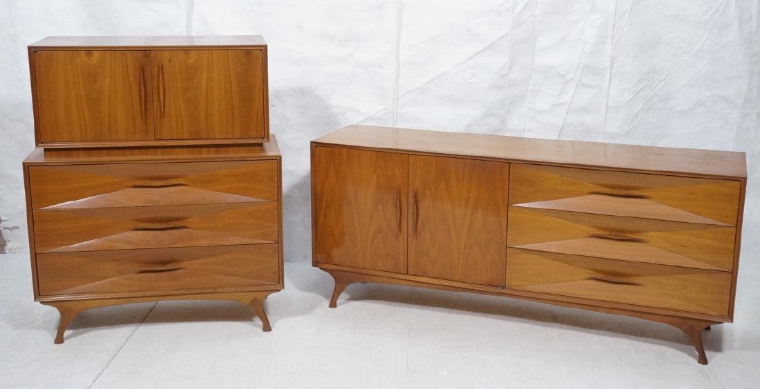 American Modern Walnut High & Low Chests Credenza