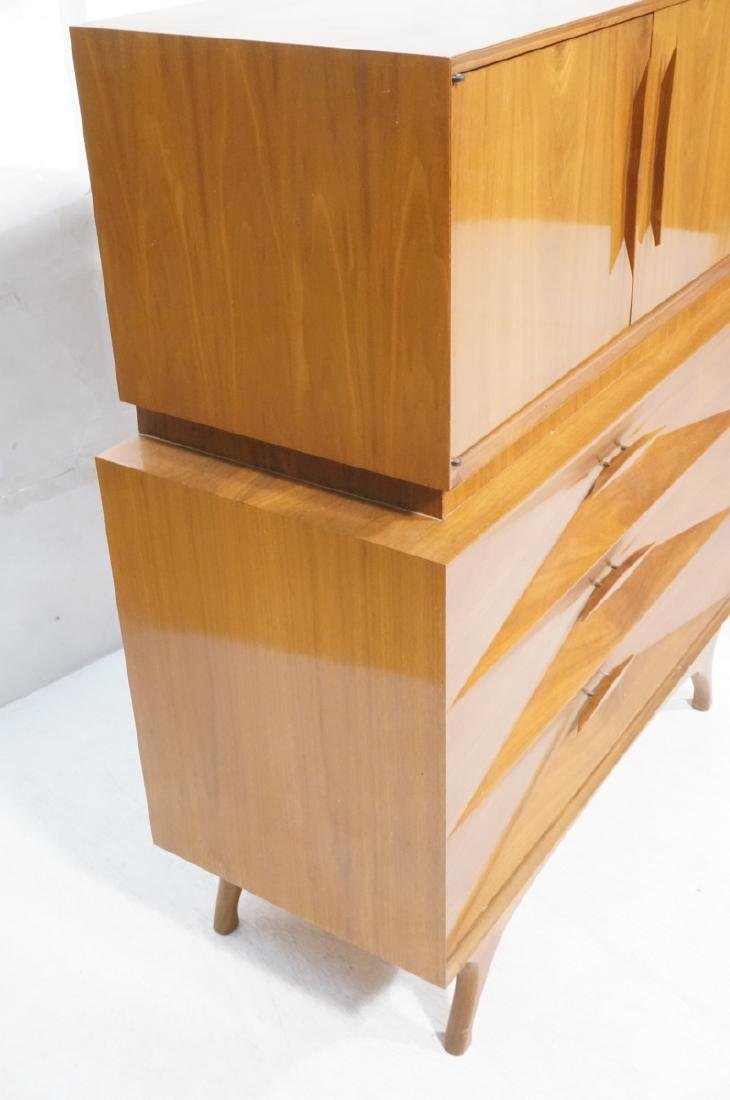 American Modern Walnut High & Low Chests Credenza - 2